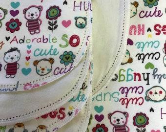 Bear Hugable hemstitched flannel baby blanket