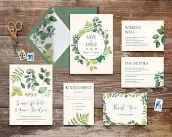 botanic wedding invitation set printable greenery wedding invitation suite vintage botanical wedding invites leady wreath save the date #BLF
