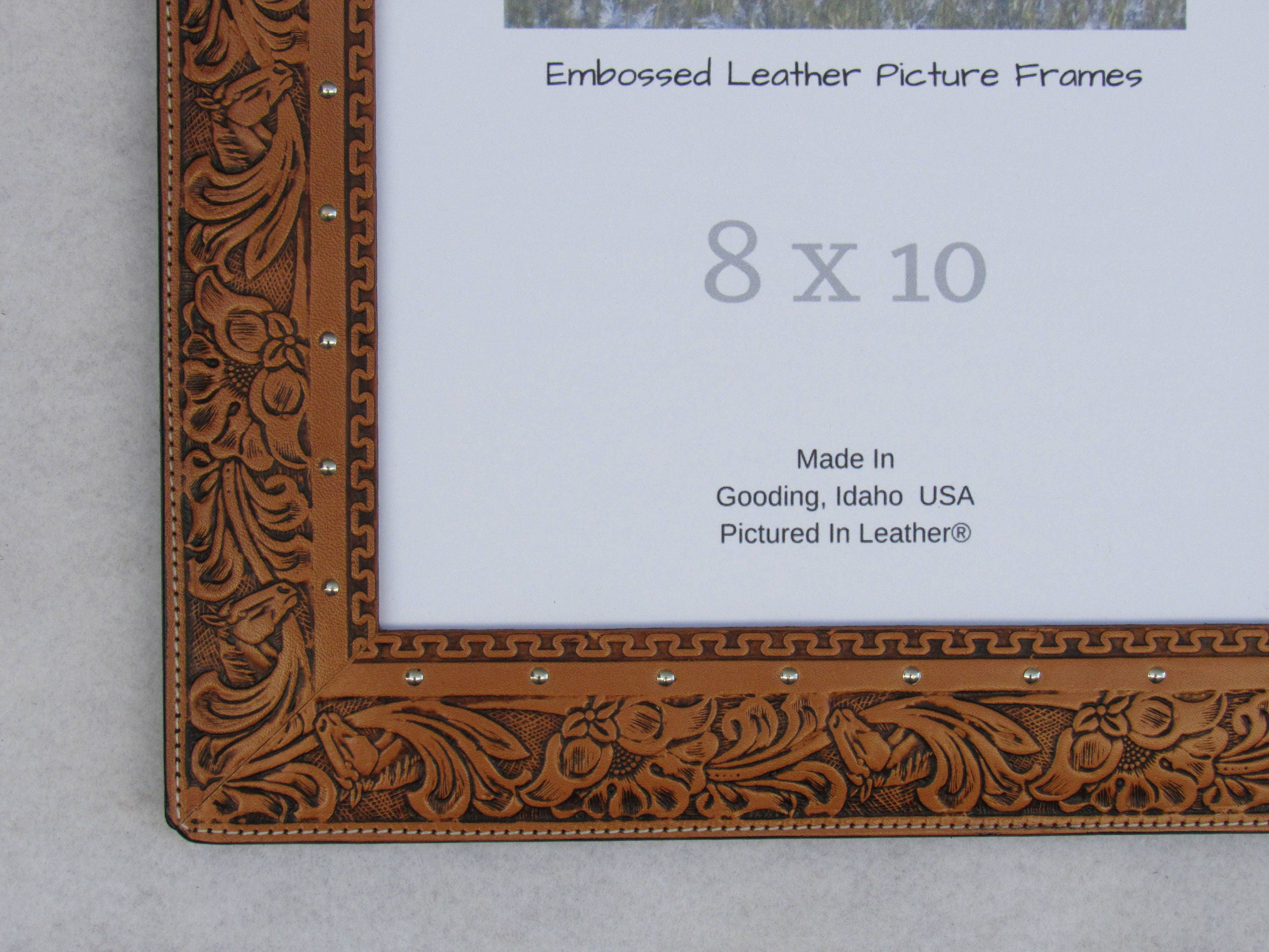 8x10 leather picture frame embossed horse and floral leather 8x10 leather picture frame embossed horse and floral leather photo frame horse picture frame western photo frame ready to ship jeuxipadfo Image collections