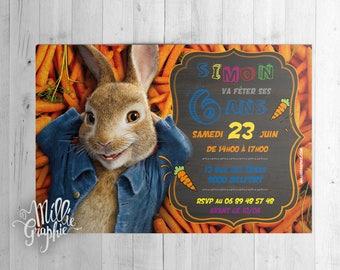 Pierre Lapin, Bunny invitation, card, invitation, birthday child Pierre Lapin