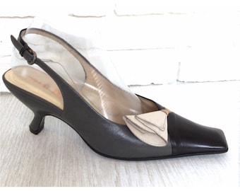 Miu Miu Womens Shoes Size38.5 Black Color Block Leather Slingback Heels with Calla Lily Flower Made Italy