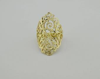 14k Yellow Gold Estate Diamond Cut Open Work Ring Size 7.25(02515)
