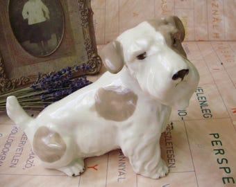 Vintage porcelain dog/puppy/terrier,handpainted