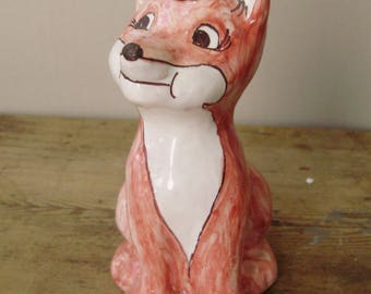 Rare,Hungarian ceramic fox figurine ,handpainted,signed,1980