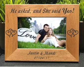 She Said Yes // Wedding Engagement // Personalized Engraved Photo Frame // Picture Frame // Marriage // Gift
