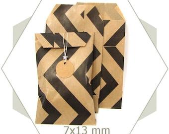 20 kraft paper gift bags natural PC18 black Chevron pattern