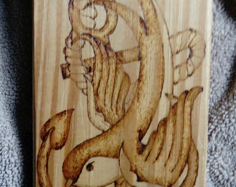 Swallow and Anchor Key/Jewellery/Oddment Hanger - Pyrography