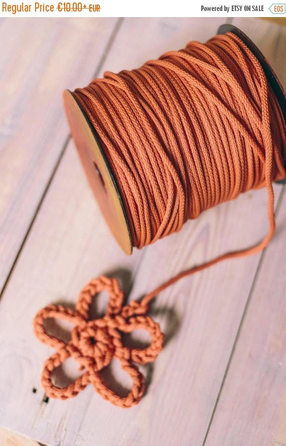 15 % OFF DIRTY ORANGE cord, craft projects, chunky yarn, crochet rope, diy projects, crochet supplies, rope, knitting yarn, knitting supplie