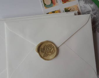 """Rose flower wedding party invitation self adhesive wax seal peel sticker 1"""" 5 pieces"""