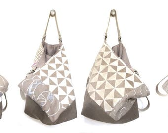 """Small bag reversible two-sided """"Secret"""" linen and velvet, with removable leather unique handles."""