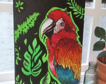 Bright and Vibrant Tiki Parrot Acrylic on Canvas