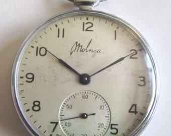 Rare Soviet/USSR Pocket watch - MOLNIJA 15 JEWELS 1950's