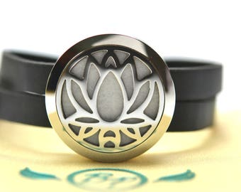 Lotus Stainless Steel Essential Oil Bracelet - With Choice of Essential Oil
