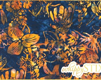 Floral Batik Fabric By the Yard, Navy Blue Orange Batik, BTY Flowers Tie Dye Cotton Quilting Fabric, Colorful Caribbean Island Material