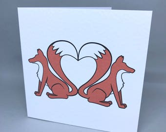 Fox tail heart - love card/Valentine's card