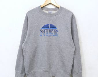 Vintage 90s NIKE SpellOut Big Logo Nike Block Sweatshirt Pullover Jumper GreyColour