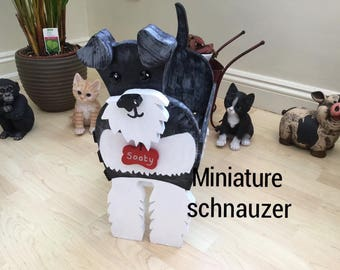 MINIATURE SCHNAUZER,wooden dog planter,garden ornament.
