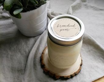 brandied pear - 16 oz mason jar - hand poured soy candle
