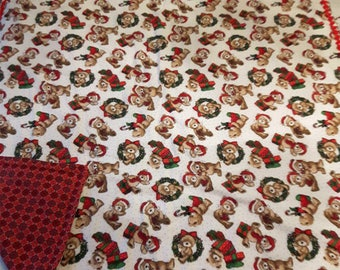 Baby Quilt - Christmas - Holidays - Pure Cotton Flannel - Teddy Bears - Baby Blanket - Handmade - Handstiched - Unique - Baby Blanket