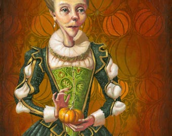 Lady with Pumpkins Original Oil Painting by Samantha Long