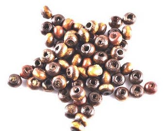 100 3 mm Brown wooden beads