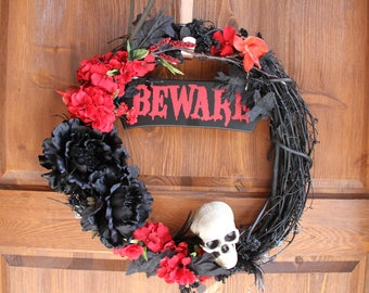 Wreath 17 Inch Black with Black and Red Silk Flowers, Skull, Beware Sign, and Battery Lights-Halloween