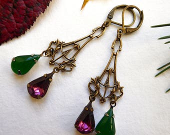 Earrings ' ears vintage emeralds and Amethyst