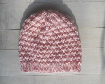 Slouchy knit beanie | Winter women's hat | Valentine's day accessories | Pink knit hat | Hand knit hat