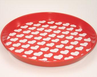 """Vintage 70s metal tray with """"Graziella hearts"""""""