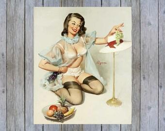 Tasteful Design - 1960s Gil Elvgren vintage pin up art poster print
