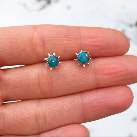 Turquoise Sunburst Earrings / Sunburst Earrings / Turquoise Studs / Mohave Turquoise Studs / Sunburst Studs / Stud Earrings / Silver Studs