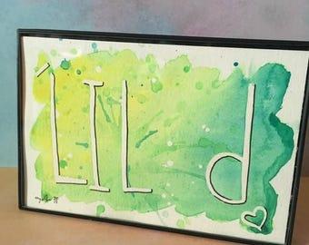 Lime Green Yellow Denton TX Watercolor Splash Lil' d Painting