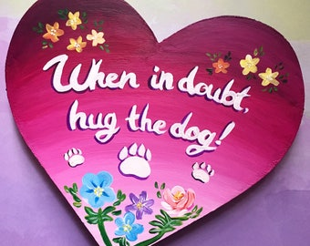 Acrylic Wooden Heart Pet Dog Cat Art Painting with Flowers