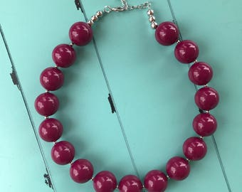 Bubblegum bead necklace, chunky bead necklace, cranberry bead necklace