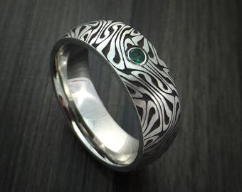 Cobalt chrome marble swirl twist ring with emerald custom made