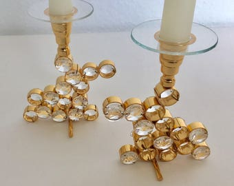 A pair of Palwa candle chandelier brass gilded crystals mid century modern 1960