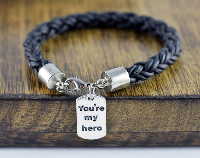 Personalized Fathers Day Gift - You're My Hero - Engraved Bracelet for Men - Mens Leather Bracelet - Custom Leather Bracelet -  Mens Gift