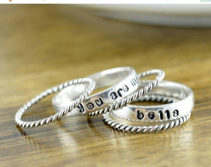 10% off SALE Mothers Ring - Stackable Name Rings - Gift for Mom - Name Rings - You are My Sunshine Jewelry - Personalized Stacking Ring - Mo