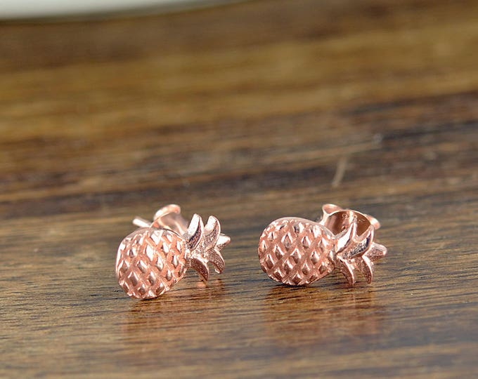 rose gold pineapple stud earrings, pineapple gifts, stud earrings ,foodie gift , pineapple charm earrings, pineapple Jewelry