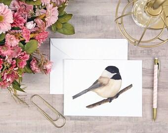 Chickadee Watercolor Card 5x7