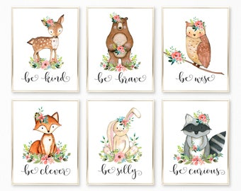Nursery Wall Art. Woodland Nursery Girl. Woodland Nursery Decor. Floral Nursery. Printable Nursery Art. Be Kind Be Brave Be Clever Curious.
