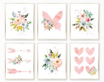 Printable Watercolor Floral Nursery Art. Floral Nursery Decor. Boho Nursery Decor. Floral Baby. Baby Girl Nursery. Pink Nursery Decor. 8x10