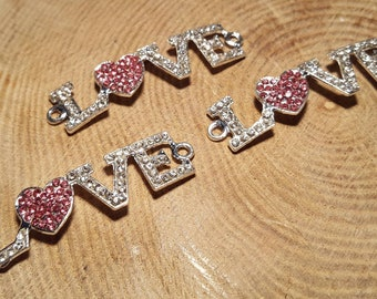 Sparkly LOVE Connector Charms/Jewellery Making