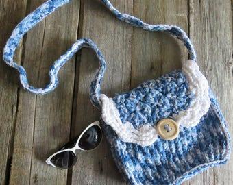 Handbag knit blue shoulder bag knit purse bag long strap yarn handbag crochet blue bag purse handbag knit drawstring bag denim handbag bags