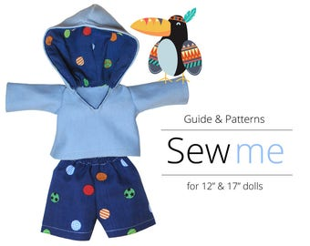 Sewing Patterns for Waldorf Doll. Hoodie and Shorts | Doll Clothes