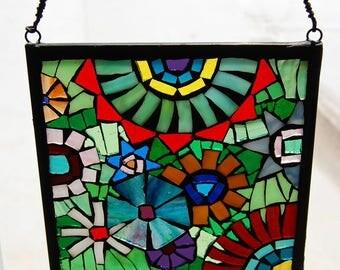 Glass-0n-Glass Mosaic Window Hanging