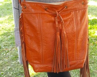 Tangerine Orange Crossbody Tote Bag with Fringe, Canadian Made, 1867Shop, Handmade, Bucket Bag, Tassels, Boho Style, Festival Style,