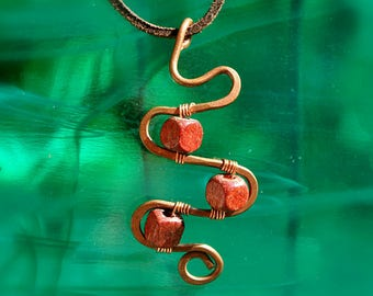 Copper wire pendant   hand crafted   reclaimed materials   copper jewellery