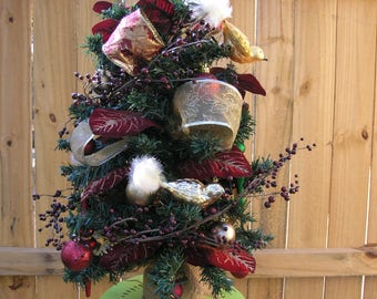 Tabletop Christmas Tree ~ Traditional Red and Gold ~ 24 inch Christmas Tree ~ Christmas Decor ~ Fully Decorated Tabletop Christmas Tree