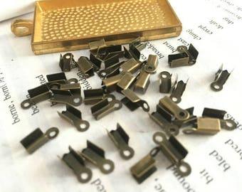 100 Pieces /Lot Antique Bronze Plated 9mmx5mm end crimp clip